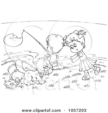 Royalty-Free Clip Art Illustration of a Coloring Page Outline Of Children And A Cat Fishing by Alex Bannykh