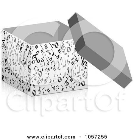 Royalty-Free Vector Clip Art Illustration of a 3d Box Of Music Notes by Andrei Marincas