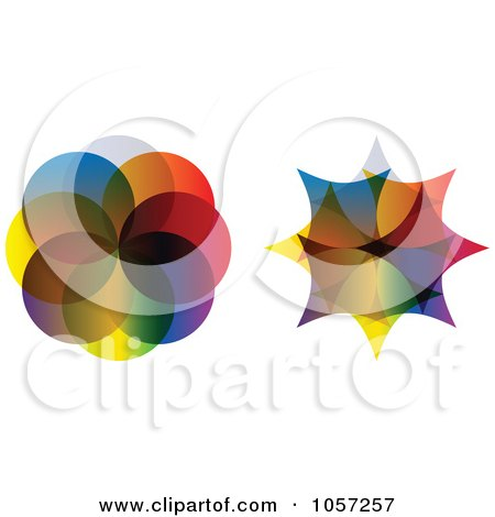 Royalty-Free Vector Clip Art Illustration of a Digital Collage Of Colorful Dot And Star Designs by Andrei Marincas