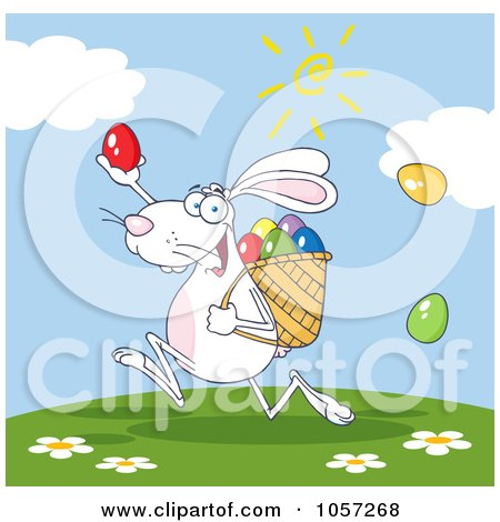 Royalty-Free Vector Clip Art Illustration of a White Bunny Participating In An Easter Egg Hunt - 3 by Hit Toon