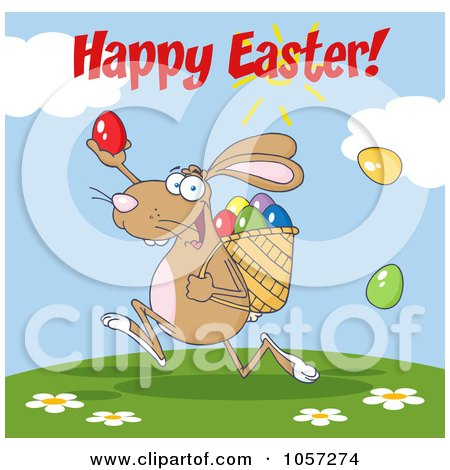 Royalty-Free Vector Clip Art Illustration of a Happy Easter Greeting Over A Brown Bunny Participating In An Easter Egg Hunt by Hit Toon