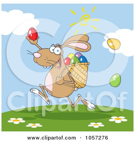 Royalty-Free Vector Clip Art Illustration of a Brown Bunny Participating In An Easter Egg Hunt - 3 by Hit Toon