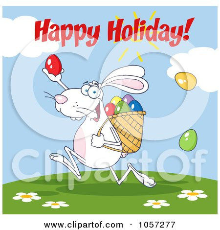 Royalty-Free Vector Clip Art Illustration of a Happy Easter Greeting Over A White Bunny Participating In An Easter Egg Hunt by Hit Toon