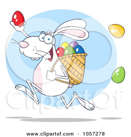 Royalty-Free Vector Clip Art Illustration of a White Bunny Participating In An Easter Egg Hunt - 2 by Hit Toon