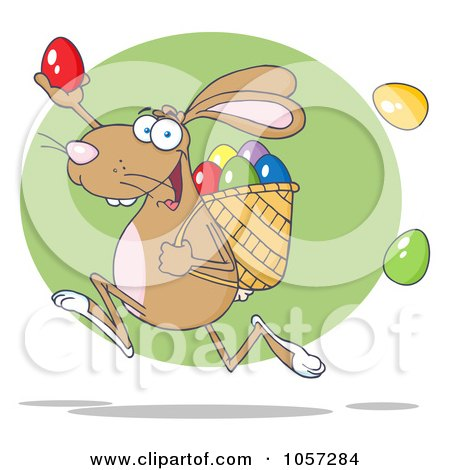 Royalty-Free Vector Clip Art Illustration of a Brown Bunny Participating In An Easter Egg Hunt - 2 by Hit Toon
