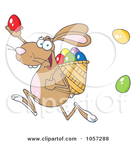 Royalty-Free Vector Clip Art Illustration of a Brown Bunny Participating In An Easter Egg Hunt - 1 by Hit Toon