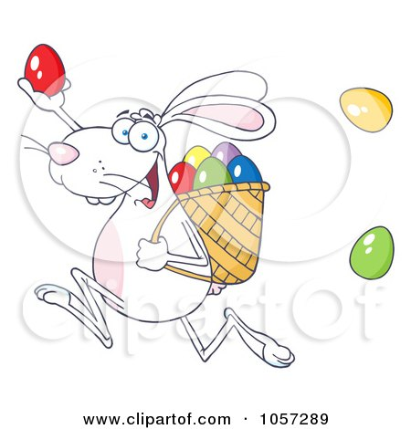 Royalty-Free Vector Clip Art Illustration of a White Bunny Participating In An Easter Egg Hunt - 1 by Hit Toon
