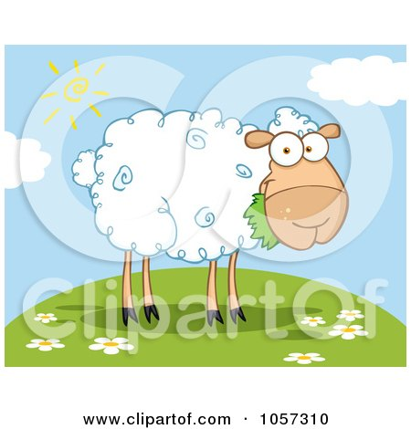 Royalty-Free Vector Clip Art Illustration of a Barnyard Sheep Eating Grass On A Hill by HitToonCom