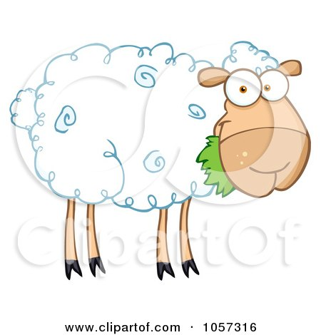 Royalty-Free Vector Clip Art Illustration of a Barnyard Sheep Eating Grass by Hit Toon