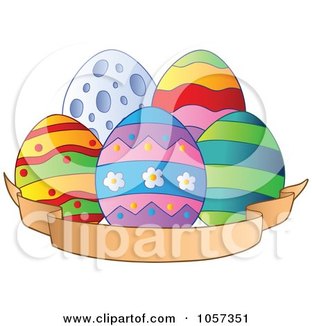 Royalty-Free Vector Clip Art Illustration of Easter Eggs With A Blank Banner by visekart