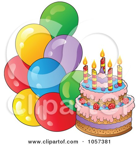 Clip Art Birthday Cake And Balloons Dmost for