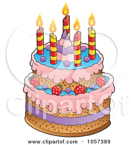 Free Vector Birthday on Royalty Free Vector Clip Art Illustration Of A Birthday Cake With
