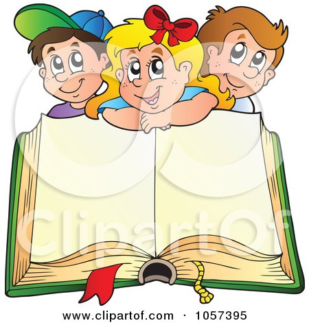 Royalty-Free Vector Clip Art Illustration of a Happy School Children Over An Open Book by visekart