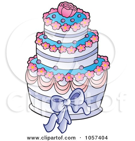 Royalty-Free Vector Clip Art Illustration of a Pink, Blue And White Wedding Cake With A Rose by visekart