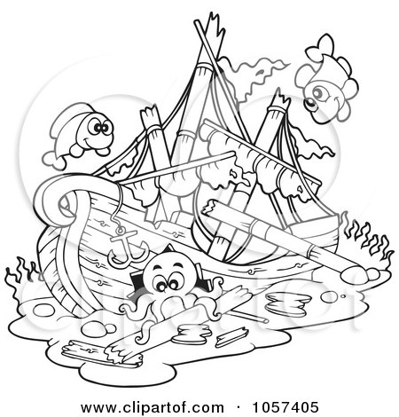 coloring page outline of a sunken ship by visekart