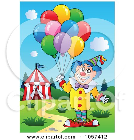 ... Clip Art Illustration of a Male Circus Clown With Balloons By A Tent