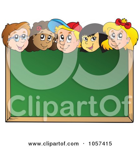Royalty-Free Vector Clip Art Illustration of a School Kids Looking Over A Blank Chalk Board by visekart
