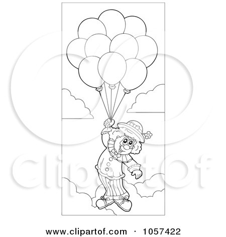 royalty free vector clip art illustration of an outlined circus clown floating with balloons by visekart - Clown Balloons Coloring Page