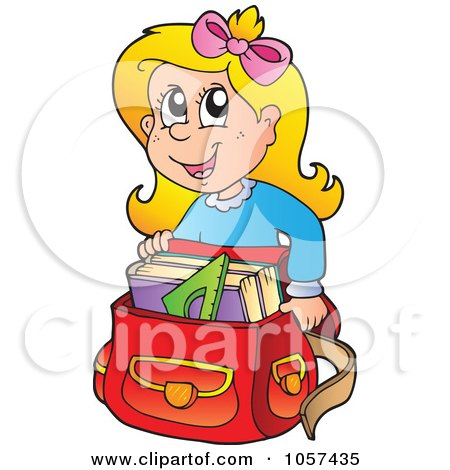 Royalty-Free Vector Clip Art Illustration of an Excited School Girl Crouching By His Back Pack by visekart