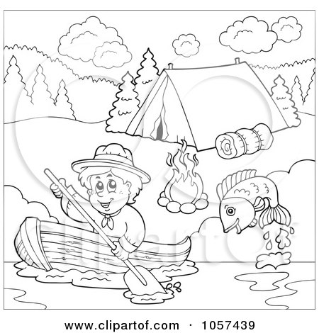 royalty free rf clipart illustration of a fish jumping near a blond scout boy rowing a boat by