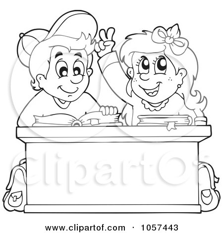 School Desk Coloring Pages Coloring page outline of a