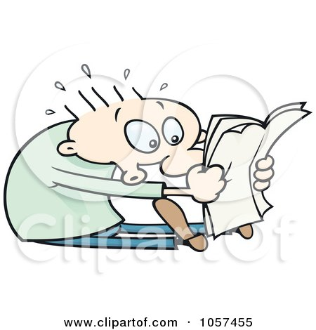 Royalty-Free Vector Clip Art Illustration of a Toon Guy Sitting And Reading Shocking News by gnurf
