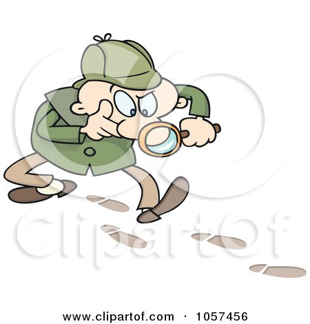 Royalty-Free Vector Clip Art Illustration of a Toon Guy Detective Following Tracks by gnurf