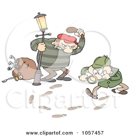 Royalty-Free Vector Clip Art Illustration of Tracks Leading A Toon Guy Detective To A Robber by gnurf