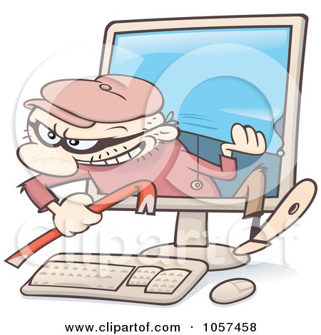 Royalty-Free Vector Clip Art Illustration of a Toon Guy Burglar Climbing Out Of A Computer Screen by gnurf