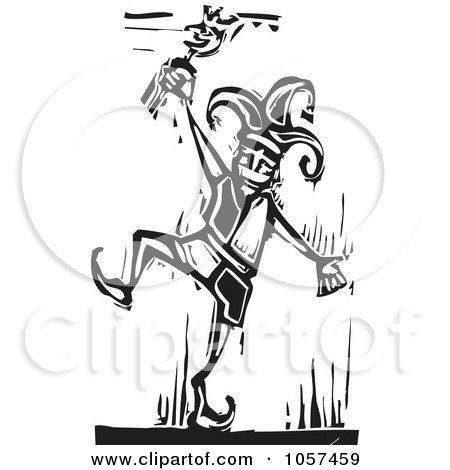 Royalty-Free Vector Clip Art Illustration of a Black And White Woodcut Styled Dancing Jester by xunantunich