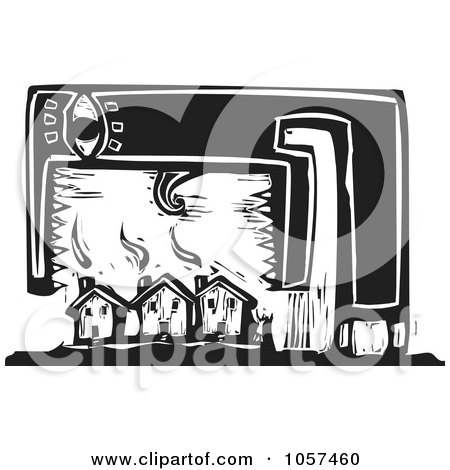 Royalty-Free Vector Clip Art Illustration of a Black And White Woodcut Styled Monster Over Housing by xunantunich