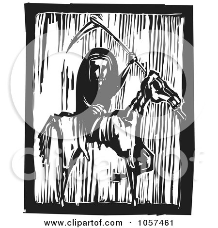 Royalty-Free Vector Clip Art Illustration of a Black And White Woodcut Styled Grim Reaper On A Famine Horse by xunantunich