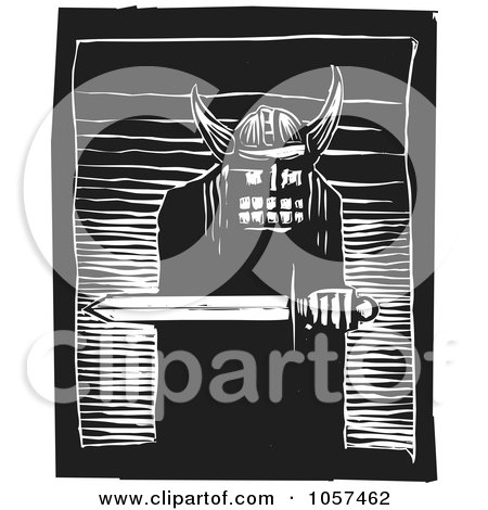Royalty-Free Vector Clip Art Illustration of a Black And White Woodcut Styled Warrior Holding A Sword by xunantunich
