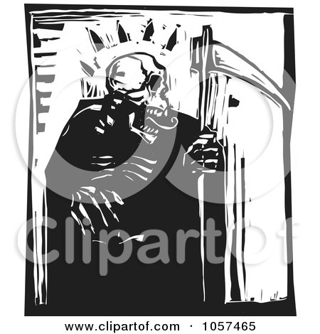 Royalty-Free Vector Clip Art Illustration of a Black And White Woodcut Styled Grim Reaper by xunantunich