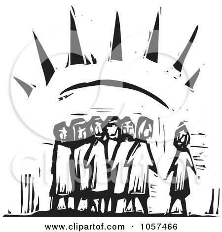 Royalty-Free Vector Clip Art Illustration of a Black And White Woodcut Styled Group Of People Under Sun Rays by xunantunich