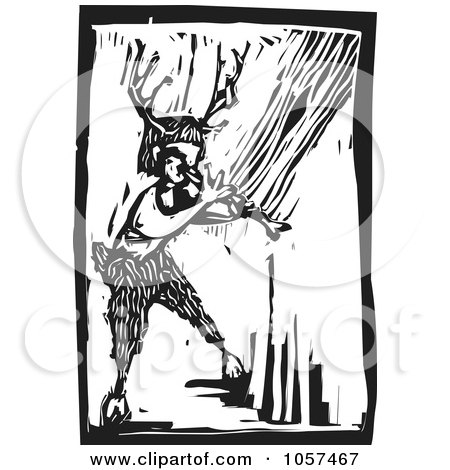 Black And White Woodcut Styled Faun Playing An Instrument Posters, Art Prints