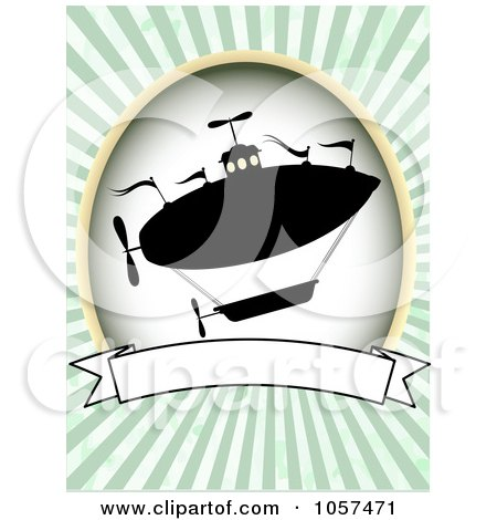 Royalty-Free Vector Clip Art Illustration of a Silhouetted Airship With A Blank Banner Over Green Rays by mheld