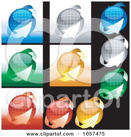 Royalty-Free Vector Clip Art Illustration of a Digital Collage Of Spheres And Arrows by dero