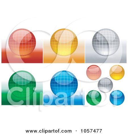 Royalty-Free Vector Clip Art Illustration of a Digital Collage Of Shiny 3d Grid Spheres by dero