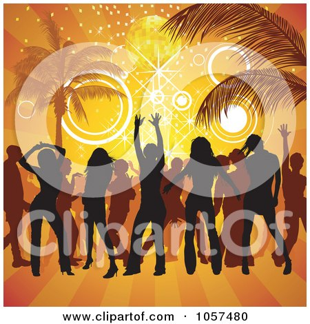 Royalty-Free Vector Clip Art Illustration of Silhouetted People Partying On A Beach by dero