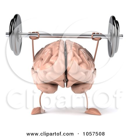 Royalty-Free CGI Clip Art Illustration of a 3d Brain Character Lifting A Barbell - 1 by Julos
