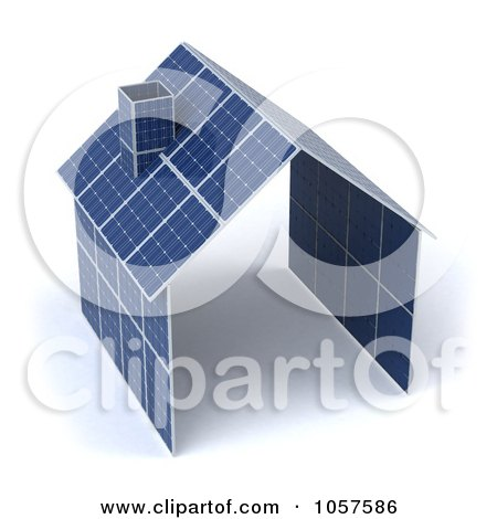Royalty-Free CGI Clip Art Illustration of a 3d House Made Of Solar Panels - 1 by Julos