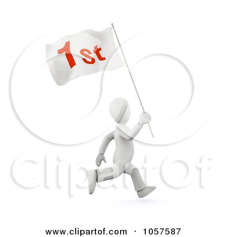 Royalty-Free CGI Clip Art Illustration of a 3d White Person Running With A First Flag by chrisroll