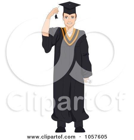 Royalty-Free Vector Clip Art Illustration of a Graduate Man Grabbing His Tassel by BNP Design Studio