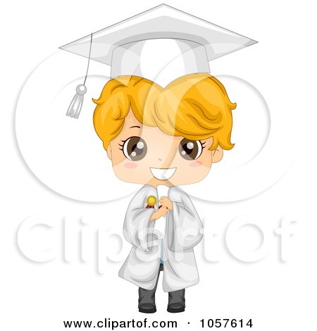 Royalty-Free Vector Clip Art Illustration of a Cute Graduate Boy Holding His Diploma And Smiling by BNP Design Studio