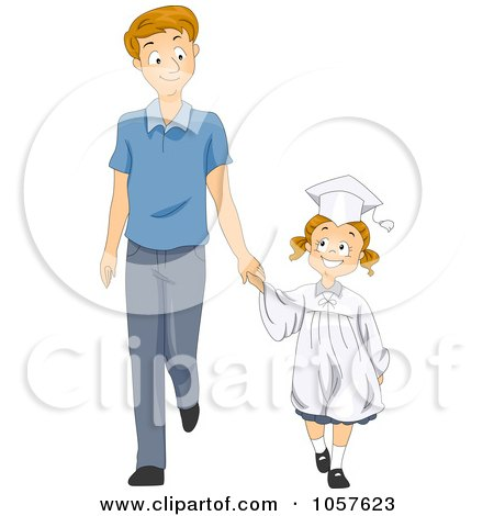 Clipart of a Boy and Girl Walking and Holding Hands