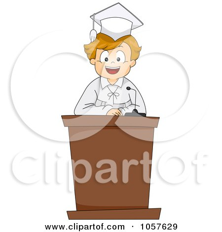 Royalty-Free Vector Clip Art Illustration of a Graduate Boy Giving A Valedictorian Speech by BNP Design Studio