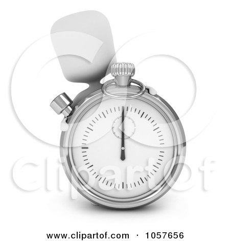Royalty-Free CGI Clip Art Illustration of a 3d Ivory Man Peeking Behind A Pocket Watch by BNP Design Studio