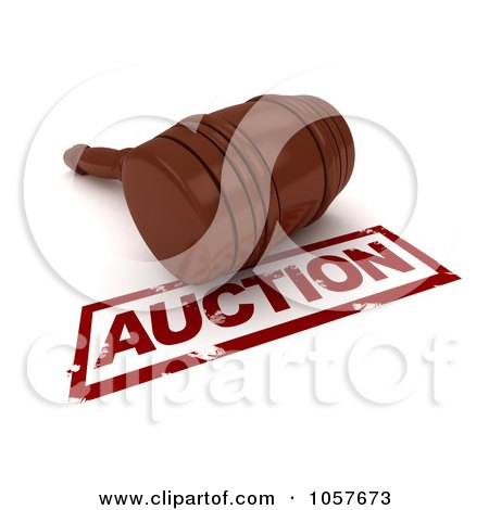 Royalty-Free CGI Clip Art Illustration of a 3d Gavel By An Auction Stamp by BNP Design Studio