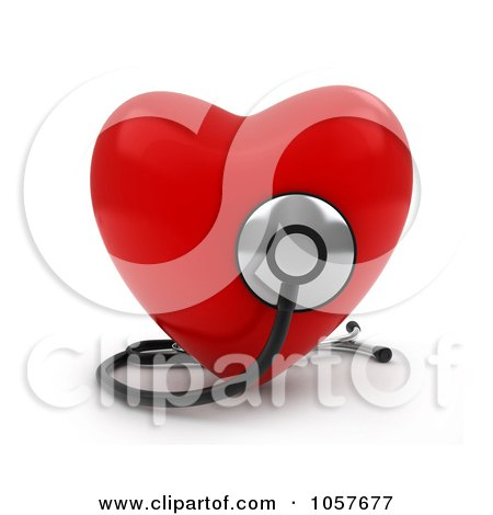 Royalty-Free CGI Clip Art Illustration of a 3d Red Heart With A Stethoscope - 1 by BNP Design Studio